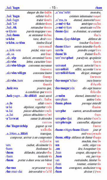 Dictionnaire thai phonétique - français